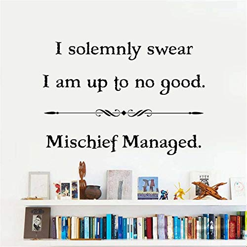 Filras Wall Sticker Lettering Wall Art Sticker Removable Letters Quote Art I Solemnly Swear I Am Up to No Good - Mischief Managed]()