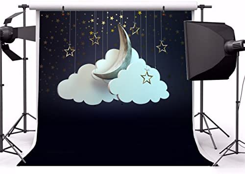 GoEoo 5x5ft Baby Dream Backdrop for Photos Beautiful Skyline Cloud Cute Hanging Twinkle Stars Moon Good Night Background Cloth for Photography Wallpaper Photo Booth Props