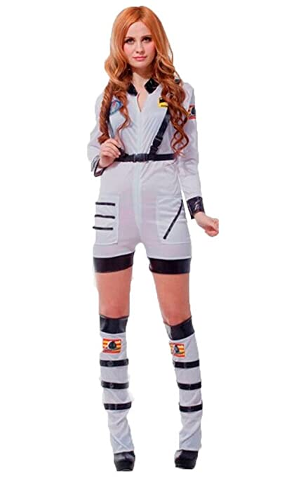 11451b13d1a7 Image Unavailable. Image not available for. Colour  Mens Womens Astronaut Costume  Adults White Spaceman Fancy Dress Nasa Jumpsuit S