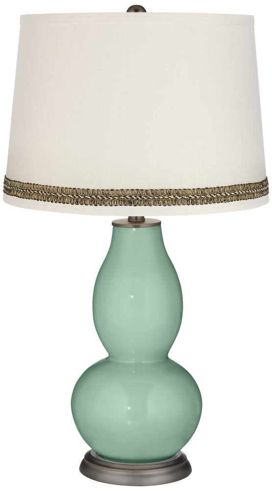 Grayed Jade Double Gourd Table Lamp with Wave Braid Trim