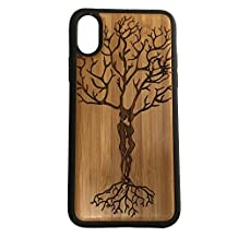 Ketubah Love Tree iPhone Case Cover for iPhone X by iMakeTheCase Eco-Friendly Bamboo Wood Cover + TPU Wrapped Edges Tree of Life Couples Jewish Judaism HaShem Twin Flame Valentine's Day Gift