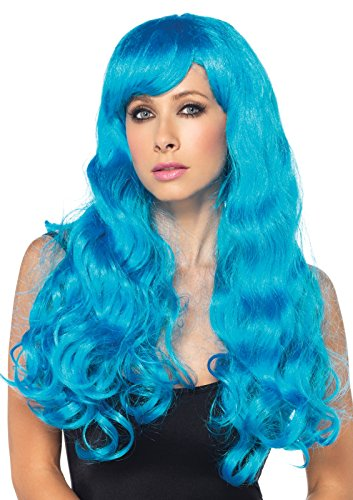 - Leg Avenue Neon Star Long Wavy Wig, Neon Blue, One Size