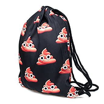 Smiley Drawstring Backpack for Traveling or Shopping Casual Daypacks School Bags
