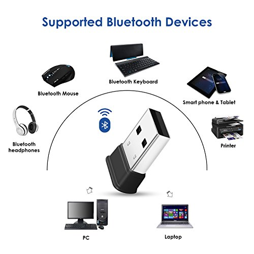 Bluetooth USB Adapter, Bluetooth 4.0 USB Dongle, Low Energy for PC, Wireless Bluetooth Dongle for PC Laptop Desktop Computer, Compatible with Windows 10, 8.1, 8, 7, Vista, XP, Linux and Raspberry PI