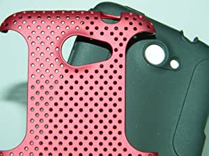 HTC ONE X PERFORATED HYBRID CASE - RED W/ BLACK + SCREEN PROTECTOR*COMBO DEAL BY SNDPLACE
