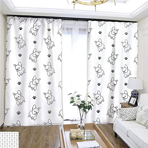 Window hangings Dog paw Seamless Pattern French Bulldog Vector Isolated Wallpaper Background White W96 x L204 Lemon Linen Loop top Curtain Highprecision Curtains for bedrooms Living Rooms Kitchen
