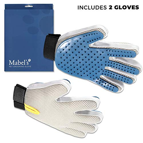 Mabel's Dog Grooming Gloves – Pet Hair Remover – Massage Brush Mitt – Five Finger – for Dog, Cat or Horse – 1 Pair (Right and Left Gloves)