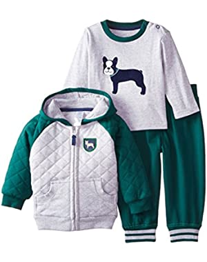 Baby Boys' Quilted Hooded Pant Set