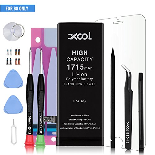 Battery Model IP 6s 0 Cycle for IP 6s Battery Replacement with Repair Tool Kits, Instruction, Screen Protector and Screws High Capacity Li-ion Battery with 24 Month Warranty [Only for ip6s]