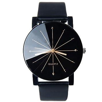 Reloj de pulsera para parejas de moda con correa de cuero negro y correa de reloj Meridian (batería incluida): Amazon.es: Hogar
