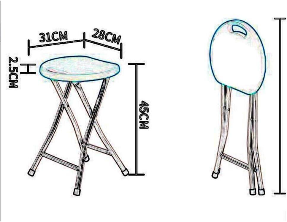 YCSD Sgabello Pieghevole (Set di 2) Sedia in Plastica Portatile con Gambe in Acciaio Resistente, Facile Maniglia per Il Trasporto, per Uso Interno/Esterno (Color : Black1) Black