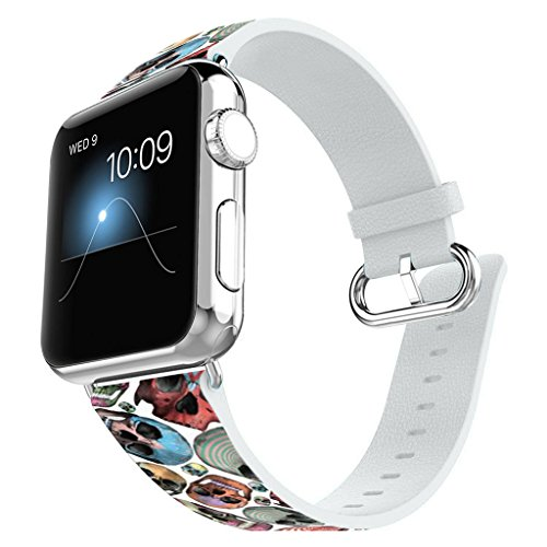 - Apple Watch Band 42MM 100% Leather + Stainless Steel Connector iWatch Bands for Apple Watch 42mm - skeleton Tile design
