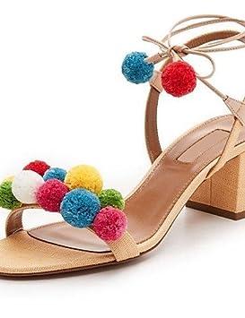 Wi & Lit Shoes Women - Robe Sandales À Pompons Et Talons Robustes