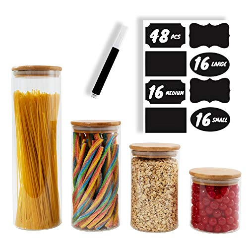 (BERG & MON Airtight Glass Food Storage Containers for the Kitchen Counter with Bamboo Lids + Chalkboard Labels and Marker - Set of 4 Glass Canisters - Large and Small Glass Jars for Dry Ingredients)