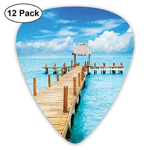 Guitar Picks 12-Pack,Bungalow On Clear Sea Travel Destination Beach Seascape Exotic View ()