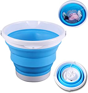 Mini Portable Washing Machine with Foldable Tub Compact Ultrasonic Turbo Washer, USB Powered Lightweight Lazy Laundry Machine for Home/Travel/Apartments/Dormitory/Socks/Underwear Cleaning(Blue)