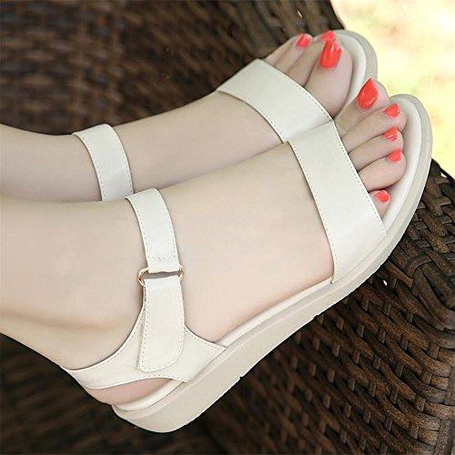 Sandalias planas mujer con simples sandalias suaves Moda Mujer Blanco leche