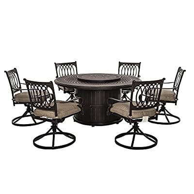 Sunjoy Lark 7 Piece Dining Set Made of Aluminum and Steel With Included Fire Pit, 60 Inches by 60 Inches by 28 Inches