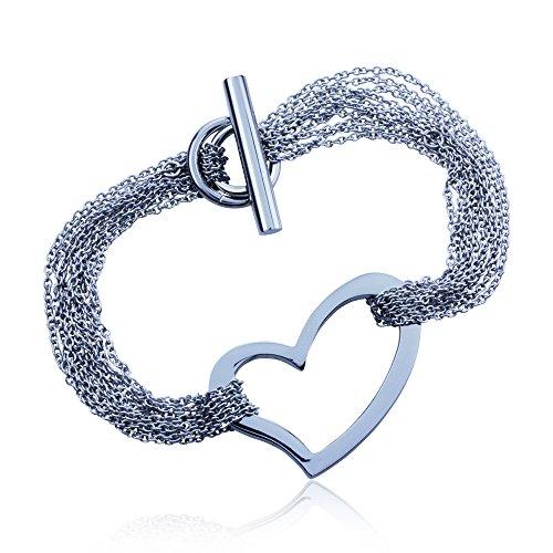 Open Heart Multi Strand Infinity Toggle Bracelet