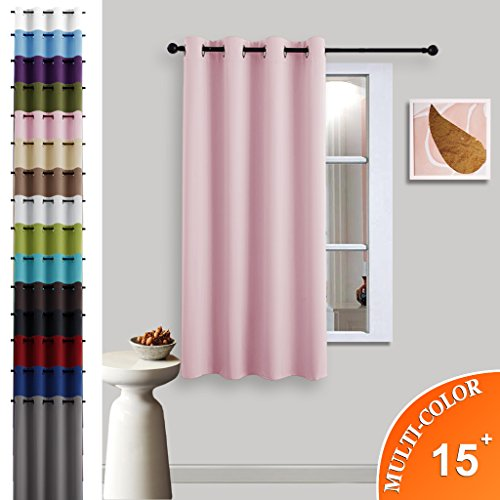 Blackout Room Darkening Curtain Panel - (Baby Pink Color) Home Decoration Thermal Insulated Light Reducing Drapery / Drape for Girl's Room by NICETOWN, 52Wx63L, One Panel