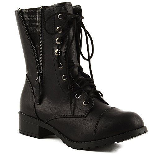 Combat Side Skirts - Soda Women's Lace-up Combat Folded Cuff Riding Mid-Calf Boots Black 7.5