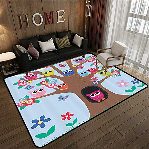 Multi-Color Modern Area Rug,Owl Decor,Cute Owls on Tree BFF Best Friends Forever Home Accent Design for Friendship Brown Green Blue Yellow Multico 47
