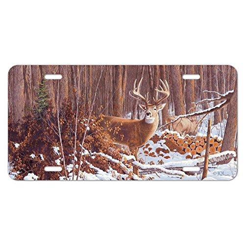 Tag Deer - Deer Behind Cabin at Woodpile Novelty Metal Vanity Tag License Plate