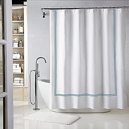 Wamsutta Baratta Stitch 72 Inch X 84 Shower Curtain In White Teal