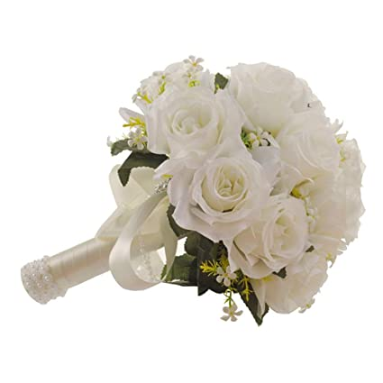 Rozkitch Wedding Bridal Bouquet White Roses With Lace Pearl Long Ribbon Artificial Fake Flowers Perfect For Wedding Church