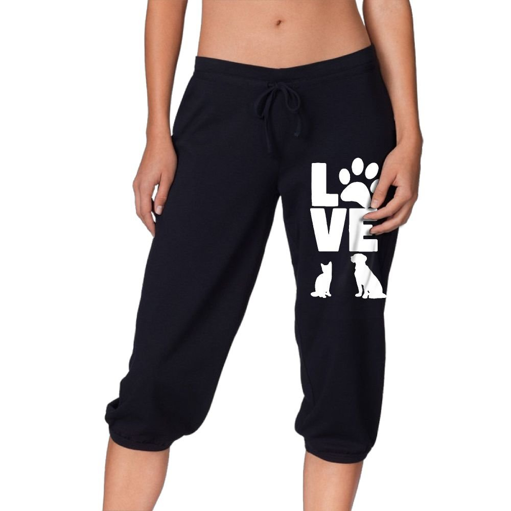 Animal Love Cat and Dog Women's Workout Knee Pants For Walking Legging Sports Pants