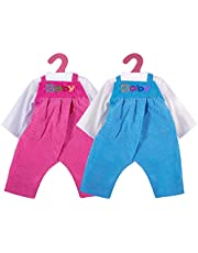 """ZOEON Ropa de Muñecas para New Born Baby Doll, Blusas y Pantalones con Peto para 18 """" Muñecas (40-45 cm), Conjunto de 2"""