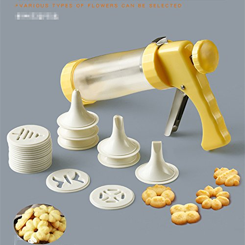 Cookie Maker Press Gun Kit - Multifunctional Comfort Grip Cookie Press Pump DIY Decorating Gun Food Grade Plastic Biscuit Maker Cake Decorating Set with 16 Discs and 6 Icing Tips by KuXun