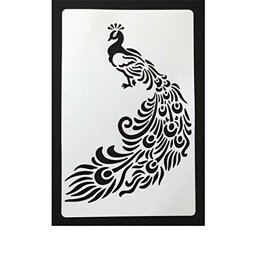 Bakell - Large 7 x 4.5 inch Peacock Stencil - Baking, Caking and Craft Tools from Bakell, Zoo Jungle Bird Animal Feathers Rainbow Wedding Male - Male Peacock
