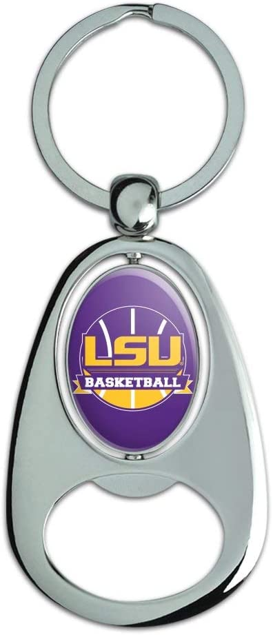 Graphics and More LSU Basketball Keychain Chrome Metal Spinning Oval Bottle Opener