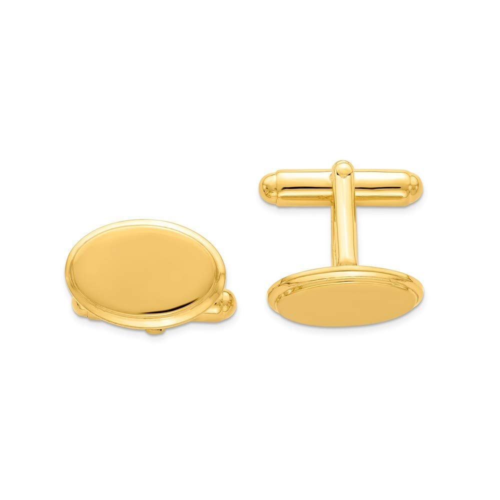 925 Sterling Silver Solid Polished Engravable and Gold-Flashed Oval Cuff Links