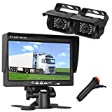 LeeKooLuu HD 720P Dual Backup Cameras and 7 Inch LCD Monitor System Kit for Truck/Trailer/RV/Van/Bus IP68 Waterpoof Night Vision with ON/Off Switch Guide Lines Normal/Mirrored Pictures Controllable