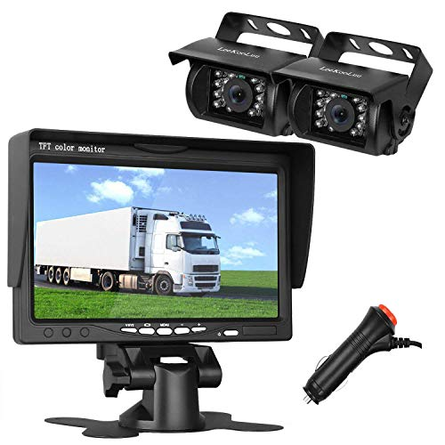(LeeKooLuu HD 720P Dual Backup Cameras and 7 Inch LCD Monitor System Kit for Truck/Trailer/RV/Van/Bus IP68 Waterpoof Night Vision with ON/Off Switch Guide Lines Normal/Mirrored Pictures Controllable)