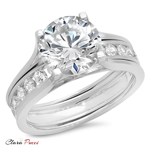 3.09 Ct Round Cut Halo Engagement Wedding Bridal Anniversary Sliding Ring Band Set 14K White Gold, Clara Pucci