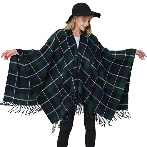 Puli Women's Plaid Shawl Wrap Tartan Blanket Scarf Open Front Poncho Capes with Tassels, Green -