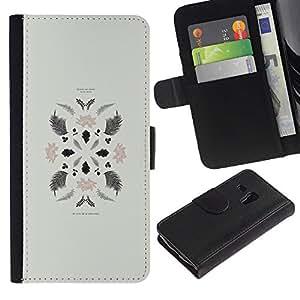 A-type (Leaves Art Minimalistic Composition) Colorida Impresión Funda Cuero Monedero Caja Bolsa Cubierta Caja Piel Card Slots Para Samsung Galaxy S3 MINI 8190 (NOT S3)