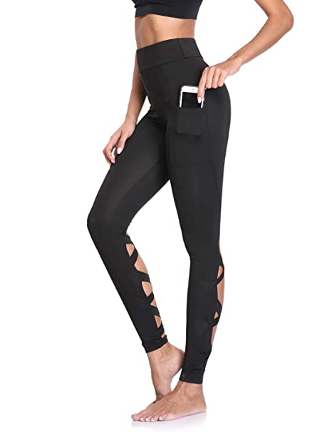 6ef8f94d49021 Amazon.com: Joyshaper High Waisted Cutout Leggings Strappy Gym Tights for  Women with Pockets Running Workout Pants: Clothing