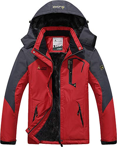Skiing Jackets for Men Waterproof Jaket Fleece Snowboarding Jacket Casual Outdoor Soft Shell Jackets with Zipper Hood Sportswear Red