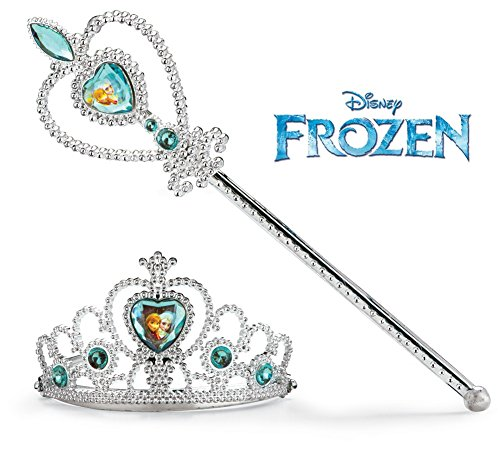 Disney Frozen Crown Tiara and Wand Set - Silver with Blue Elsa and Anna Heart Jewel (Frozen Costumes For Sale)