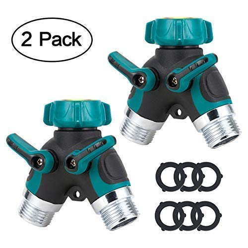 GLANICS 2 Way Hose Splitter, 2 Pcs Y Garden Hose Connector, Faucet y Adapter with Comfortable Rubberized Grip and Washers, Zinc ()
