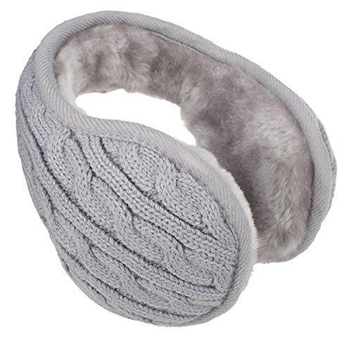 Metog Unisex Foldable Ear Warmers kints Winter EarMuffs Grey - Heated Ear Muffs