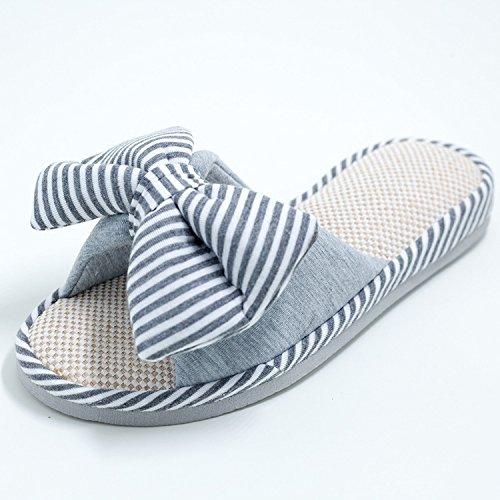 Ladies Home Interior ocio Zapatillas de rayas pequeñas, gris, 38