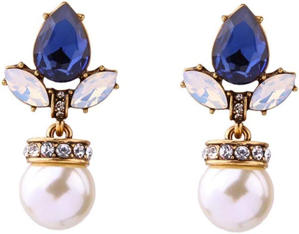 Cyjershi Pendientes De Mujer, Perlas Hipoalergénicas, Azul Marino, Gotas De Agua De Lujo, Moda, Pendientes De Damas