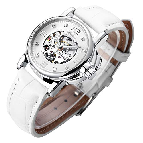 Gute Women's Steampunk Skeleton Automatic Mechanical Self Winding Wristwatch