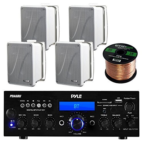 Amp And Speaker Combo Packge: Pyle PDA6BU Bluetooth Radio USB AUX Amplifier Stereo Receiver Bundle With 2x Kicker KB6000B 6.5