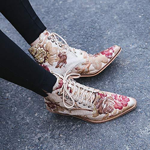 Bottes À Cheville Talons Mode Beige Brodé Bout Left Pointu amp;right Chaussures La Main Les Lacets Block Chelsea Hauts De Femmes Iwx0xqT68